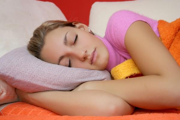 Sleeping teen girl