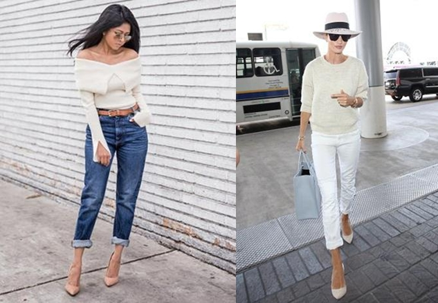 Storets-offshoulder-top-mom-highwaist-jeans-stevemadden-nude-pumps-1-horz