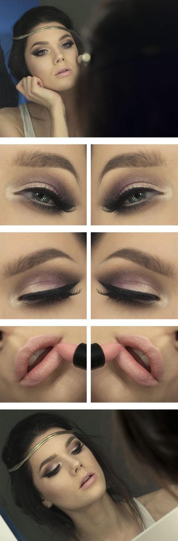 Brown-Smoky-Eye-and-Nude-lip-Makeup-Tutorial