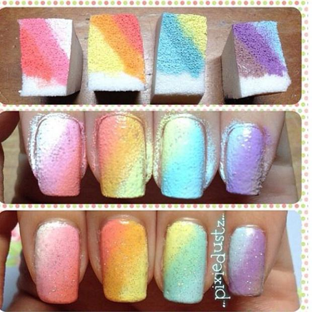 2-Sponge-Rainbow-Manicure